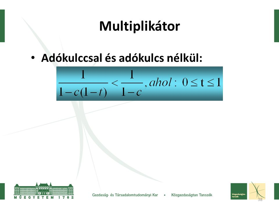38 Multiplikátor • Adókulccsal és adókulcs nélkül: