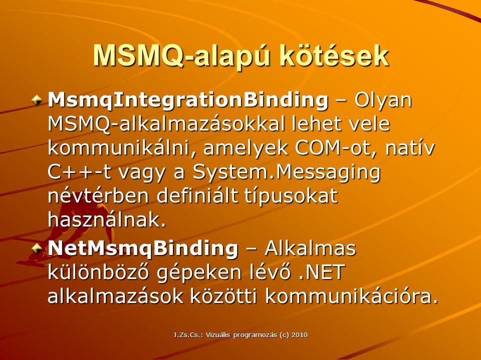 MSMQ-alapú kötések MsmqIntegrationBinding – Olyan MSMQ-alkalmazásokkal lehet vele kommunikálni, amelyek COM-ot, natív C++-t vagy a System.Messaging né