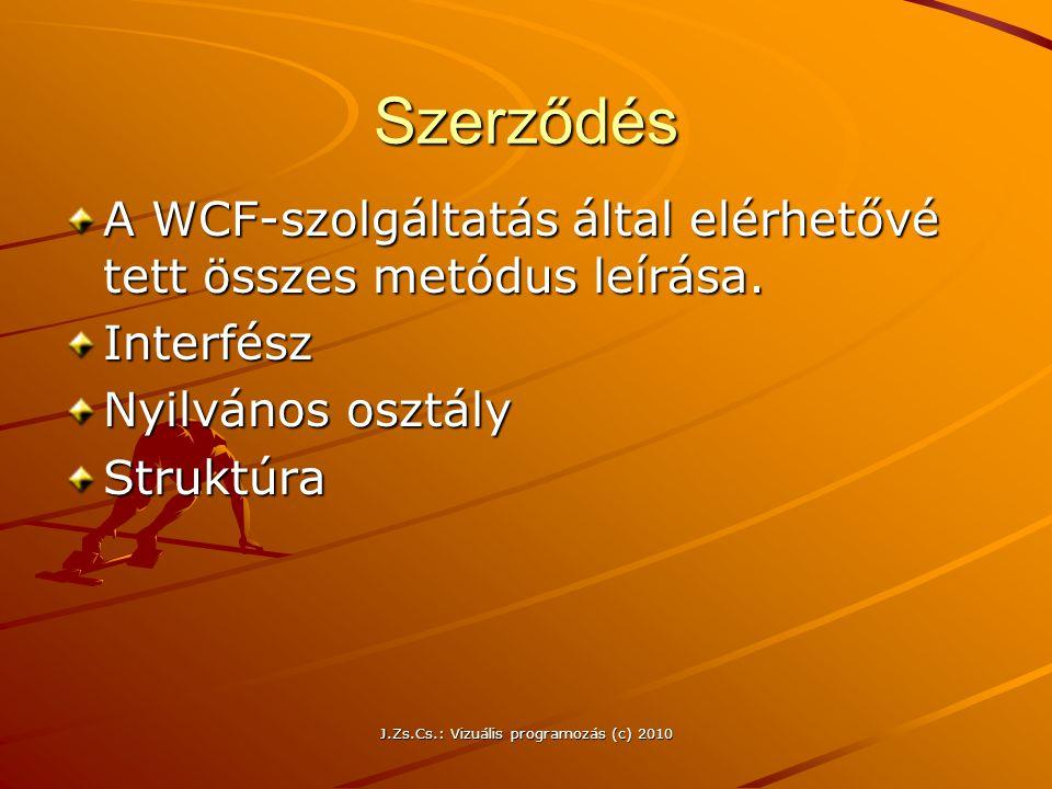 Szerződés A WCF-szolgáltatás által elérhetővé tett összes metódus leírása. Interfész Nyilvános osztály Struktúra J.Zs.Cs.: Vizuális programozás (c) 20