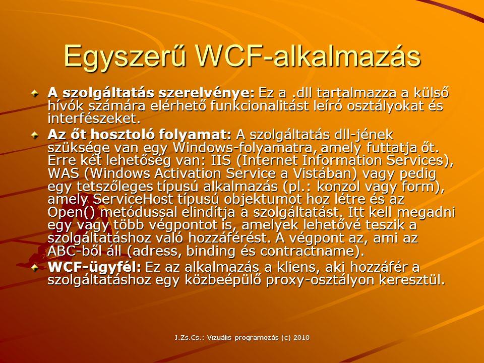 Egyszerű WCF-alkalmazás A szolgáltatás szerelvénye: Ez a.dll tartalmazza a külső hívók számára elérhető funkcionalitást leíró osztályokat és interfész
