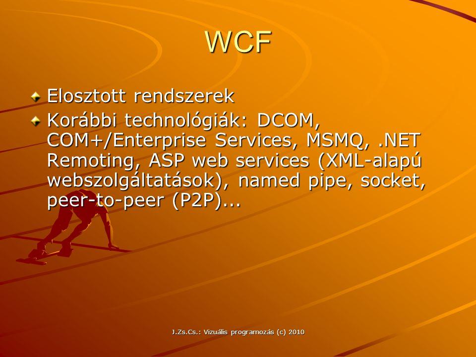 J.Zs.Cs.: Vizuális programozás (c) 2010 WCF Elosztott rendszerek Korábbi technológiák: DCOM, COM+/Enterprise Services, MSMQ,.NET Remoting, ASP web ser