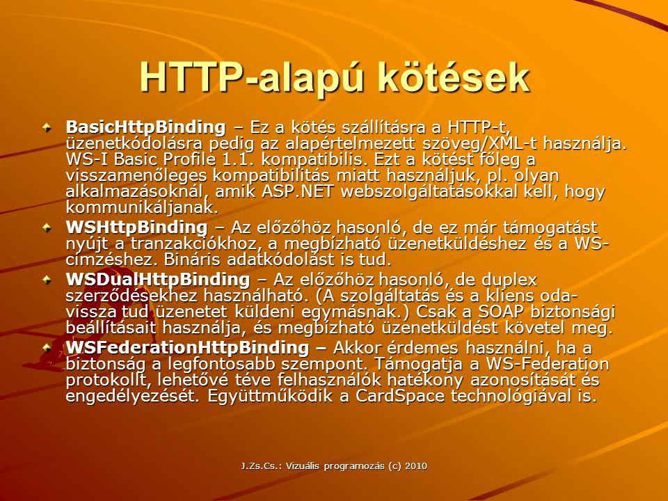 HTTP-alapú kötések BasicHttpBinding – Ez a kötés szállításra a HTTP-t, üzenetkódolásra pedig az alapértelmezett szöveg/XML-t használja. WS-I Basic Pro