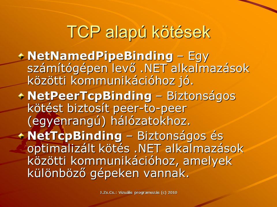 TCP alapú kötések NetNamedPipeBinding – Egy számítógépen levő.NET alkalmazások közötti kommunikációhoz jó. NetPeerTcpBinding – Biztonságos kötést bizt