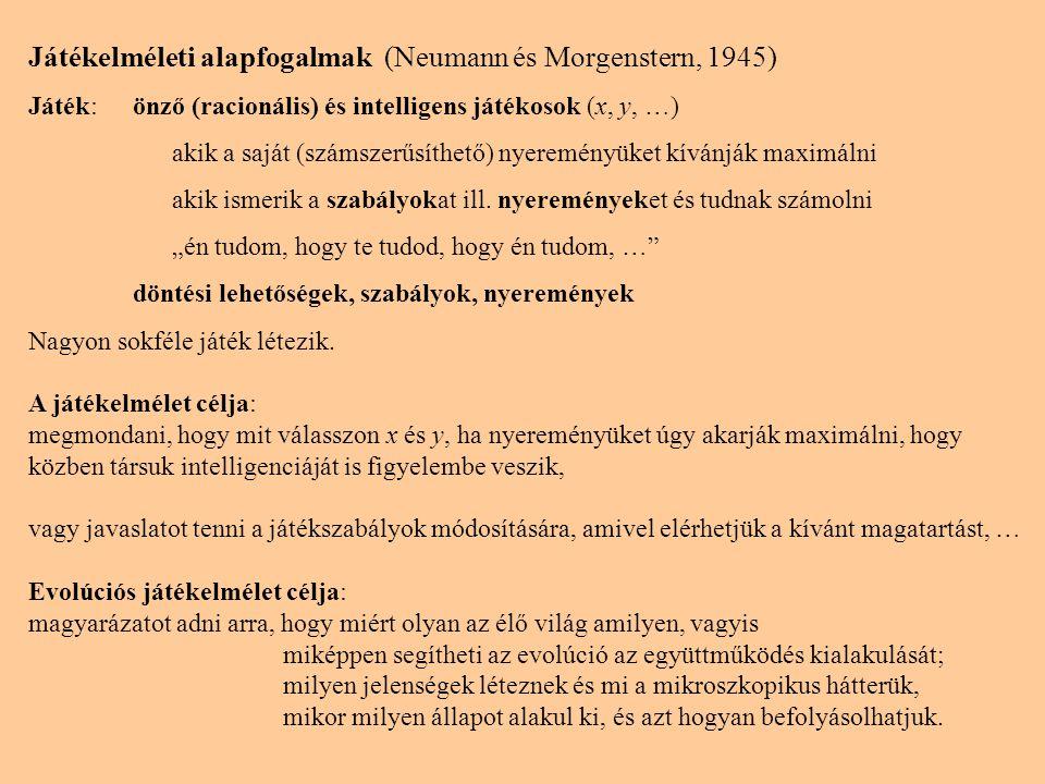 Játékelméleti alapfogalmak (Neumann és Morgenstern, 1945) Játék:önző (racionális) és intelligens játékosok (x, y, …) akik a saját (számszerűsíthető) n