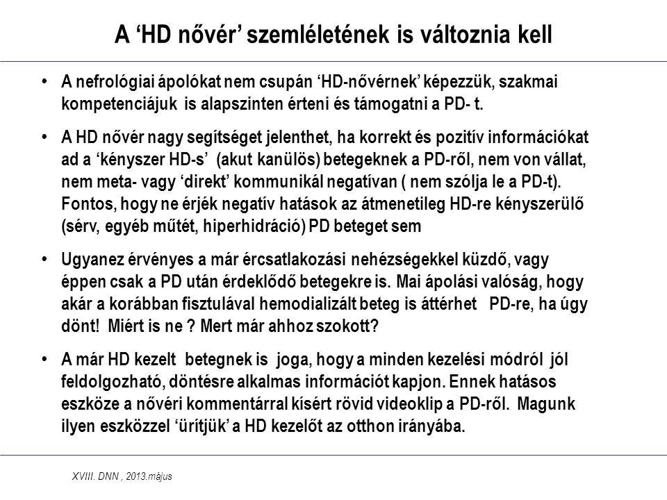 A 'HD nővér' szemléletének is változnia kell • A nefrológiai ápolókat nem csupán 'HD-nővérnek' képezzük, szakmai kompetenciájuk is alapszinten érteni és támogatni a PD- t.