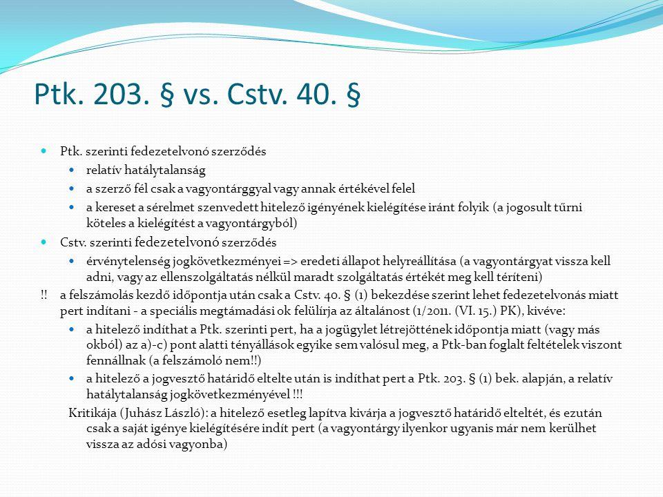 Ptk.203. § vs. Cstv. 40. §  Ptk.