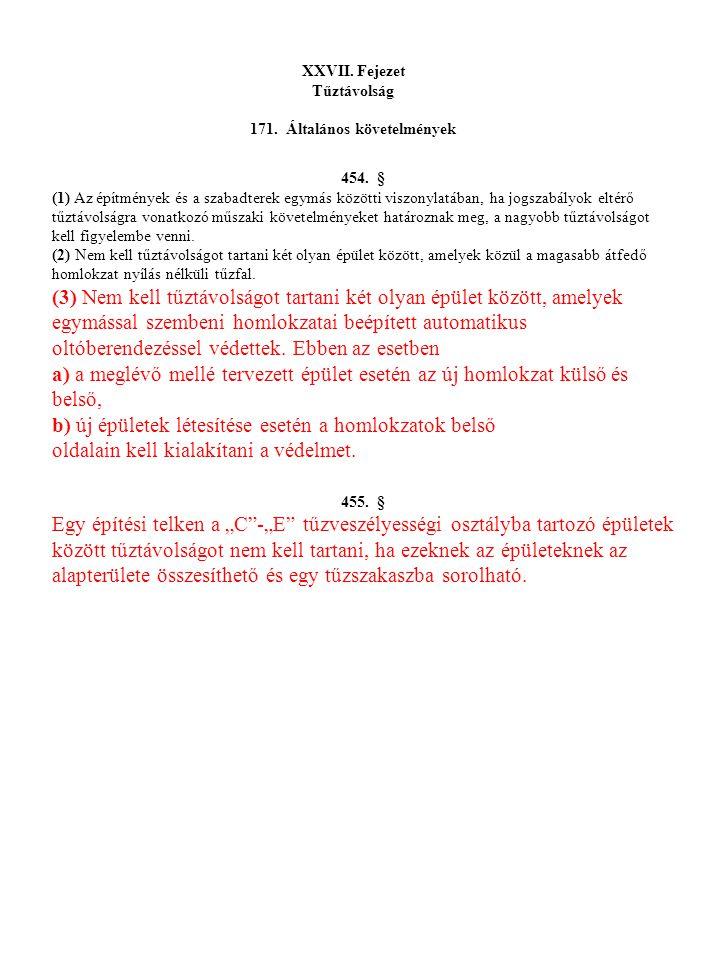 XXVII.Fejezet Tűztávolság 171. Általános követelmények 454.