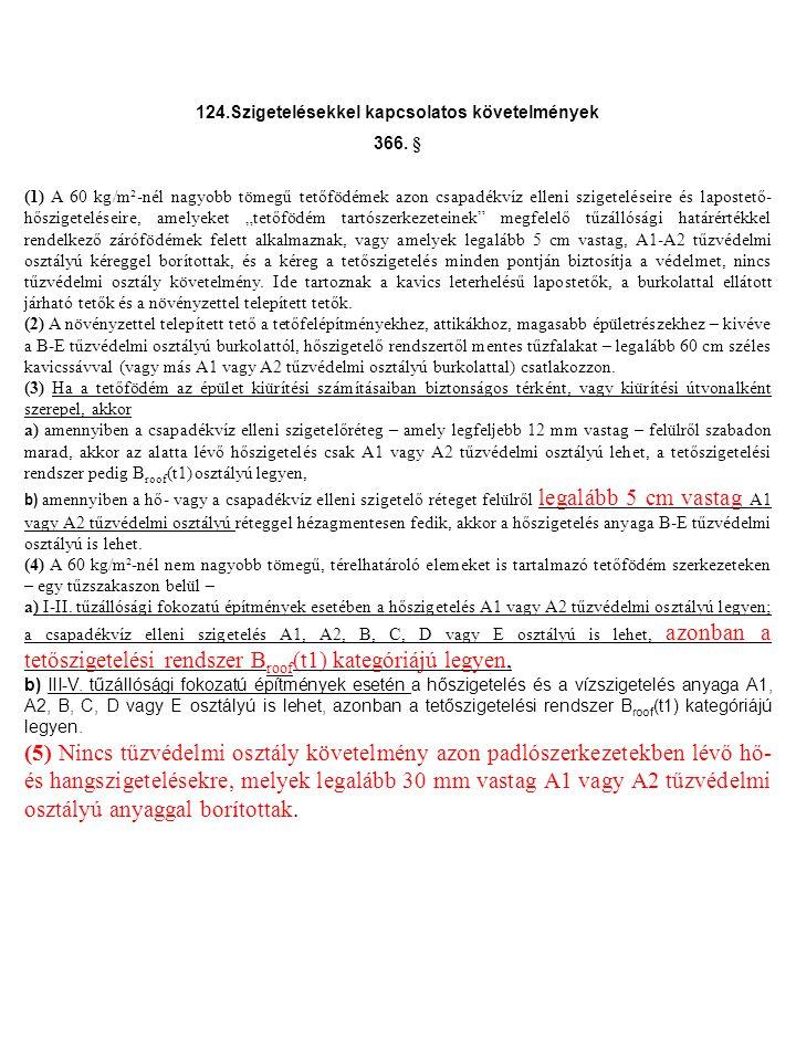 124.Szigetelésekkel kapcsolatos követelmények 366.