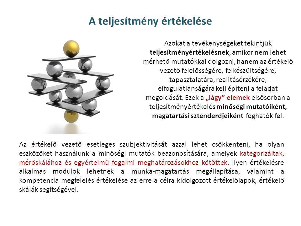 Teljesítményértékelés belső környezeti elemei szervezeti kultúra, értékek az uralkodó vezetői stílus az emberi erőforrások struktúrája (életkor, végzettség) az elvárt teljesítmény és a szervezeti magatartás kommunikálása a feladatok jellege, a teljesítmény értelmezése az emberi erőforrások erősségei, gyengeségei a teljesítményt befolyásoló belső motivációs tényezők a munkavállalók igényei, elvárásai az egyéb EEM rendszerek, a szervezet felépítése