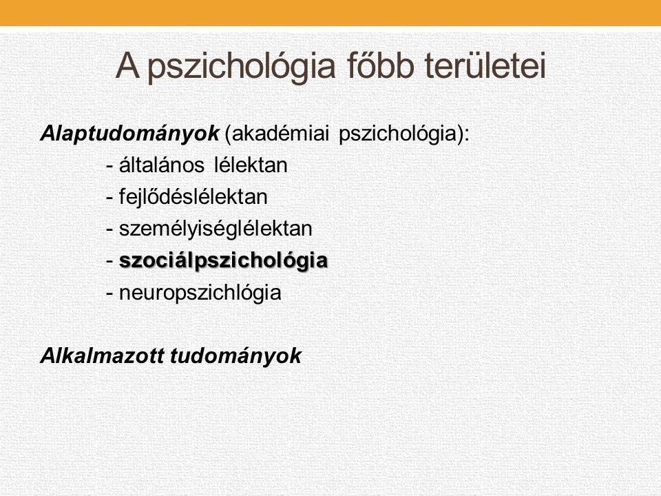 A pszichológia főbb területei Alaptudományok (akadémiai pszichológia): - általános lélektan - fejlődéslélektan - személyiséglélektan szociálpszichológ