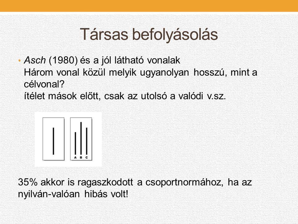 Társas befolyásolás • Asch (1980) és a jól látható vonalak Három vonal közül melyik ugyanolyan hosszú, mint a célvonal? ítélet mások előtt, csak az ut