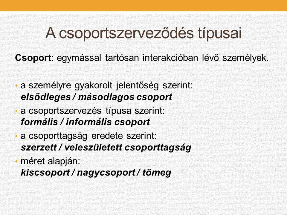 A csoportszerveződés típusai Csoport: egymással tartósan interakcióban lévő személyek. • a személyre gyakorolt jelentőség szerint: elsődleges / másodl
