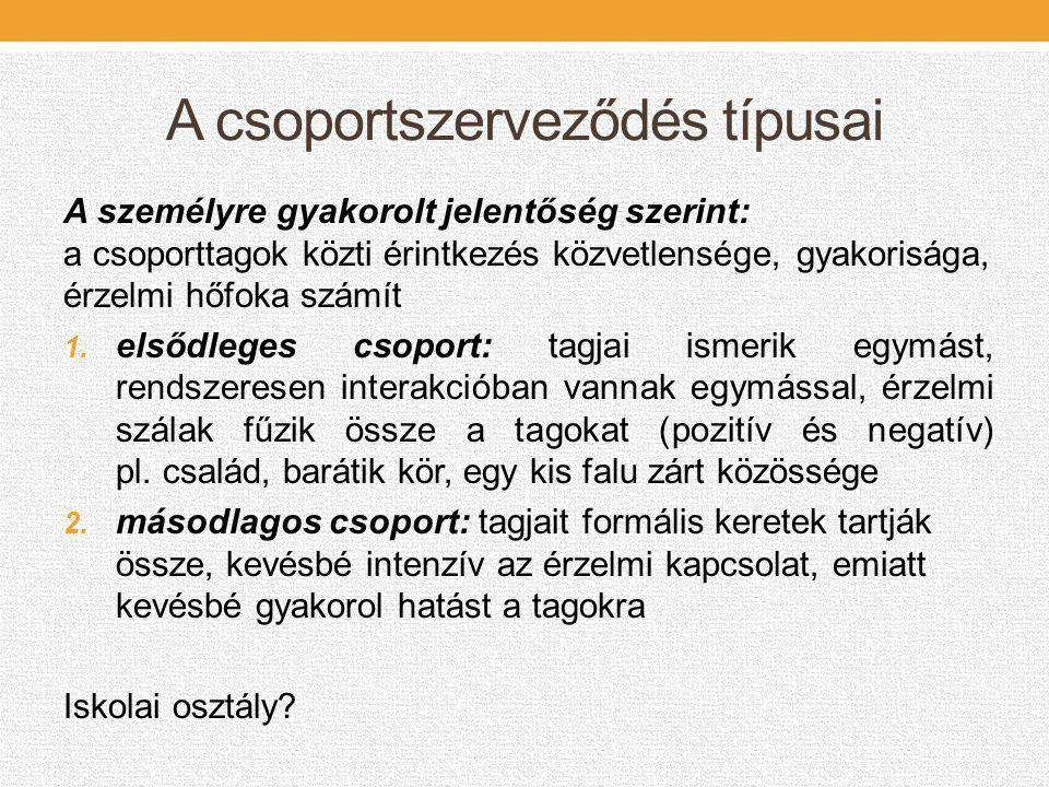 A csoportszerveződés típusai A csoportszervezés típusa szerint: 1.