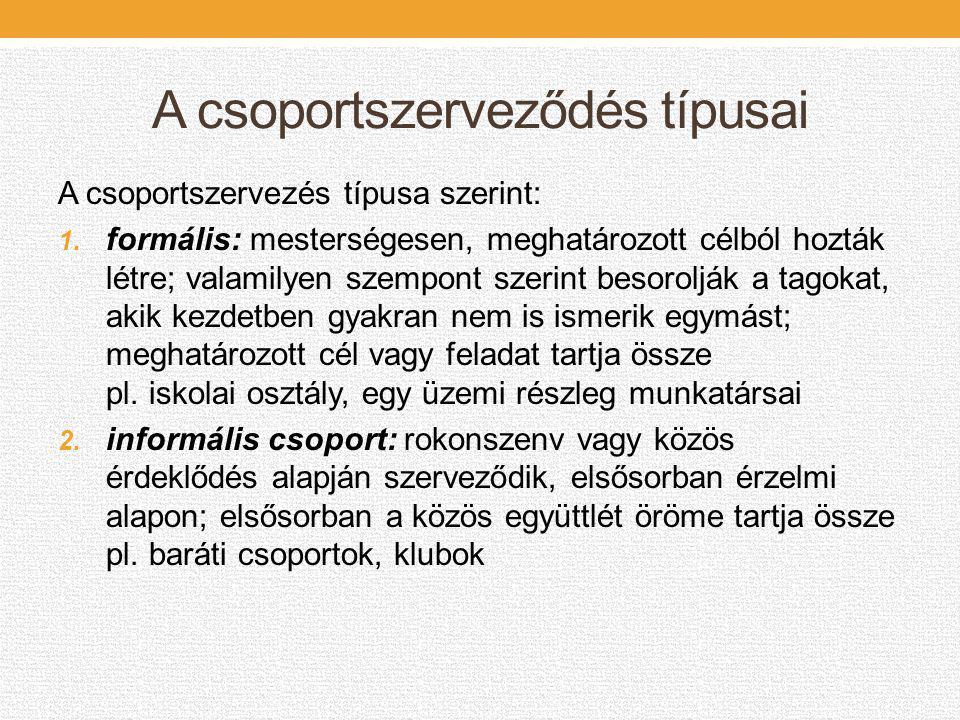 A csoportszerveződés típusai A csoportszervezés típusa szerint: 1. formális: mesterségesen, meghatározott célból hozták létre; valamilyen szempont sze