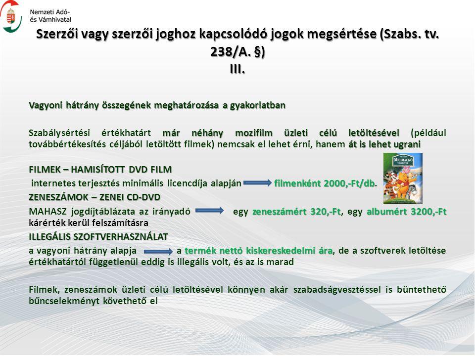 Szerzői vagy szerzői joghoz kapcsolódó jogok megsértése (Szabs.