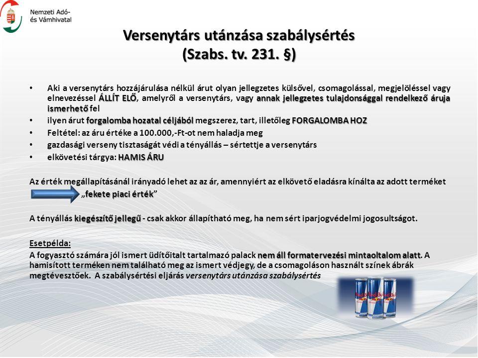 Versenytárs utánzása szabálysértés (Szabs.tv. 231.