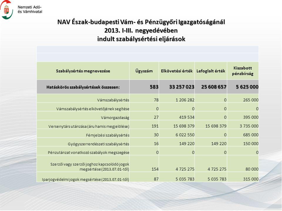NAV Észak-budapesti Vám- és Pénzügyőri Igazgatóságánál 2013.