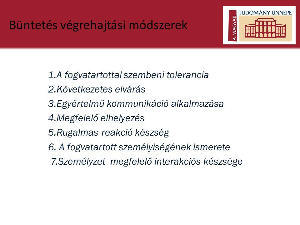 Büntetés végrehajtási módszerek 1.A fogvatartottal szembeni tolerancia 2.Következetes elvárás 3.Egyértelmű kommunikáció alkalmazása 4.Megfelelő elhely