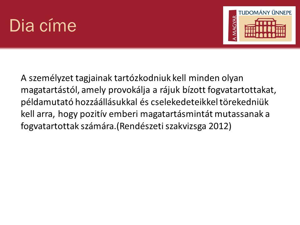 Dia címe A személyzet tagjainak tartózkodniuk kell minden olyan magatartástól, amely provokálja a rájuk bízott fogvatartottakat, példamutató hozzáállásukkal és cselekedeteikkel törekedniük kell arra, hogy pozitív emberi magatartásmintát mutassanak a fogvatartottak számára.(Rendészeti szakvizsga 2012)