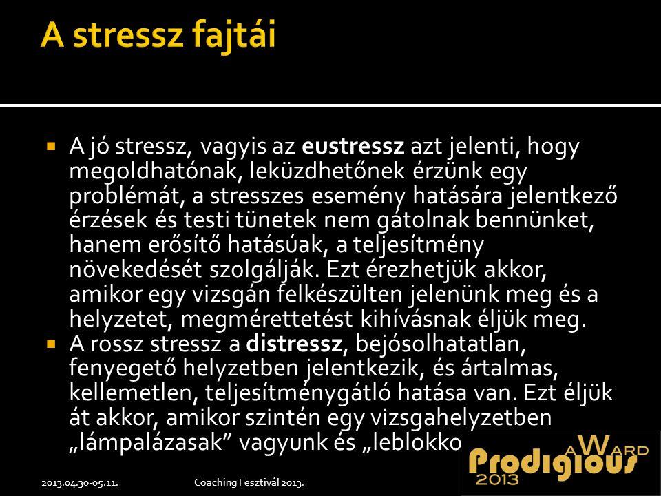  A jó stressz, vagyis az eustressz azt jelenti, hogy megoldhatónak, leküzdhetőnek érzünk egy problémát, a stresszes esemény hatására jelentkező érzések és testi tünetek nem gátolnak bennünket, hanem erősítő hatásúak, a teljesítmény növekedését szolgálják.