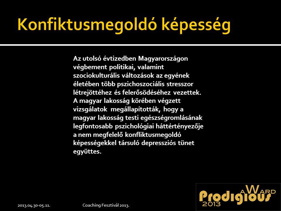 2013.04.30-05.11.Coaching Fesztivál 2013. Az utolsó évtizedben Magyarországon végbement politikai, valamint szociokulturális változások az egyének éle