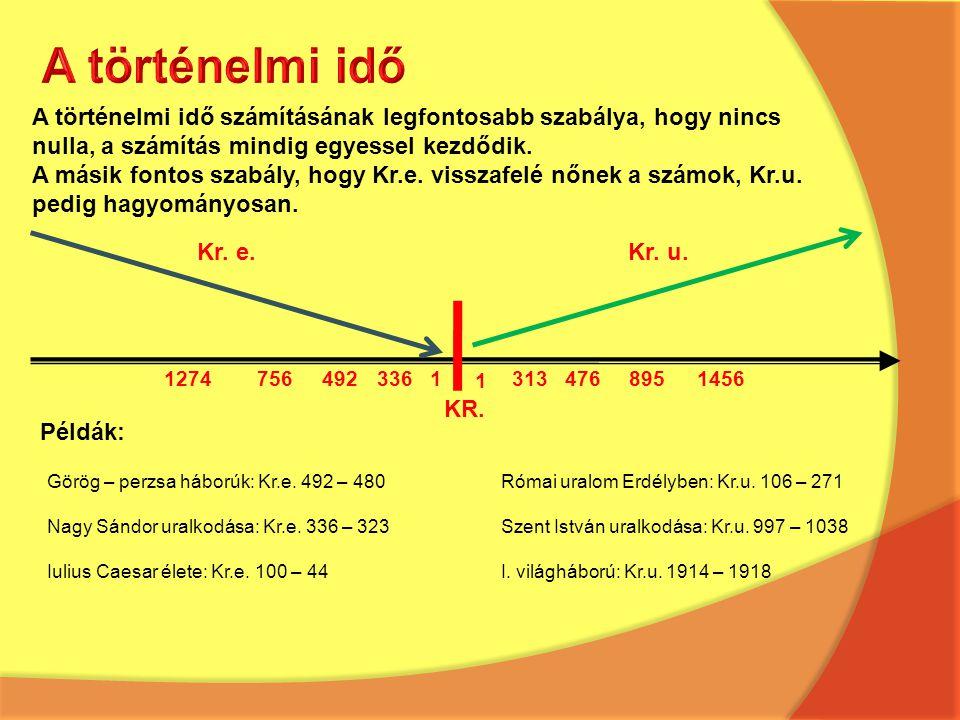 A történelmi idő számításának legfontosabb szabálya, hogy nincs nulla, a számítás mindig egyessel kezdődik. A másik fontos szabály, hogy Kr.e. visszaf