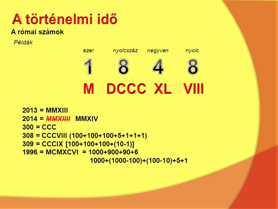 A római számok Példák ezer nyolcszáz negyven nyolc 2013 = MMXIII 2014 = MMXIIII MMXIV 300 = CCC 308 = CCCVIII (100+100+100+5+1+1+1) 309 = CCCIX [100+1