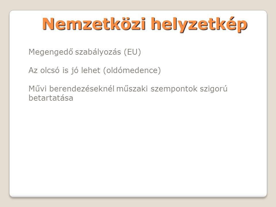 Nemzetközi helyzetkép Megengedő szabályozás (EU) Az olcsó is jó lehet (oldómedence) Művi berendezéseknél műszaki szempontok szigorú betartatása