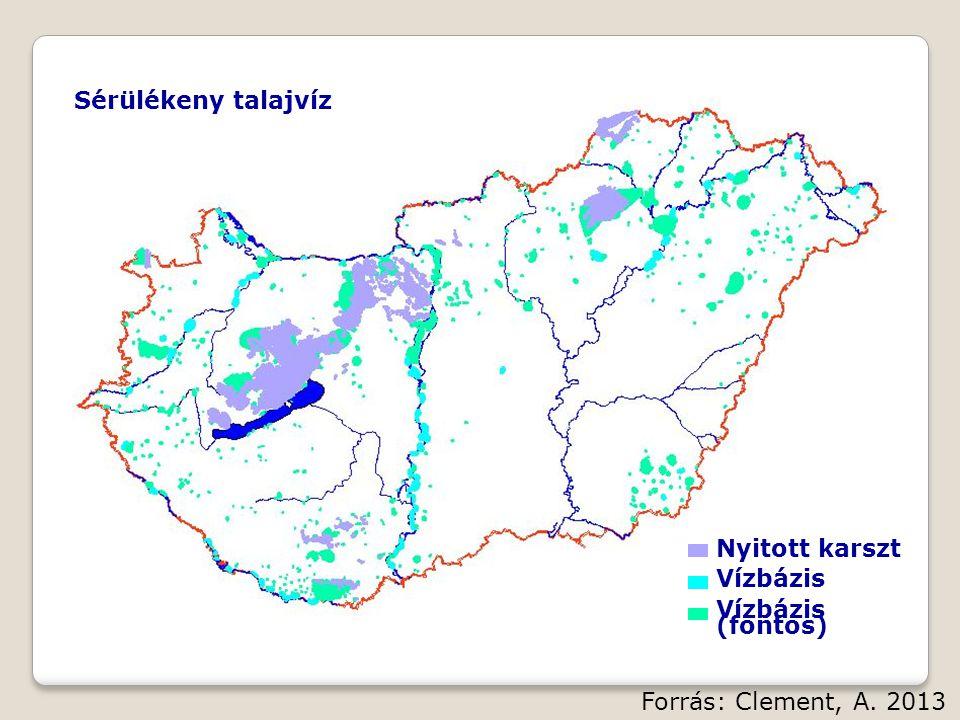 Nyitott karszt Vízbázis Vízbázis (fontos) Sérülékeny talajvíz Forrás: Clement, A. 2013