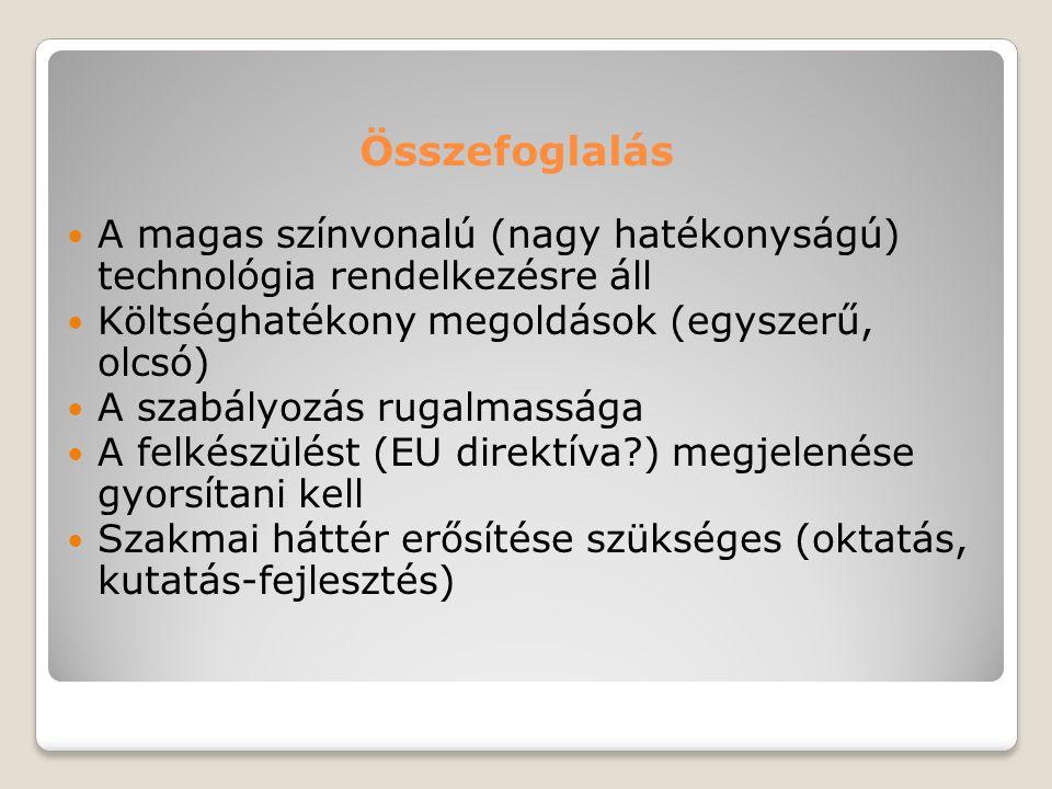  A magas színvonalú (nagy hatékonyságú) technológia rendelkezésre áll  Költséghatékony megoldások (egyszerű, olcsó)  A szabályozás rugalmassága  A
