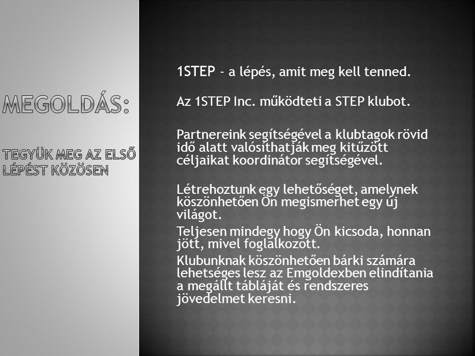 1STEP - a lépés, amit meg kell tenned. Az 1STEP Inc. működteti a STEP klubot. Partnereink segítségével a klubtagok rövid idő alatt valósíthatják meg k