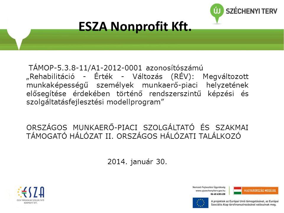 """ESZA Nonprofit Kft. TÁMOP-5.3.8-11/A1-2012-0001 azonosítószámú """"Rehabilitáció - Érték - Változás (RÉV): Megváltozott munkaképességű személyek munkaerő"""