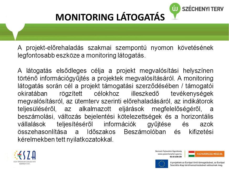 MONITORING LÁTOGATÁS A projekt-előrehaladás szakmai szempontú nyomon követésének legfontosabb eszköze a monitoring látogatás. A látogatás elsődleges c