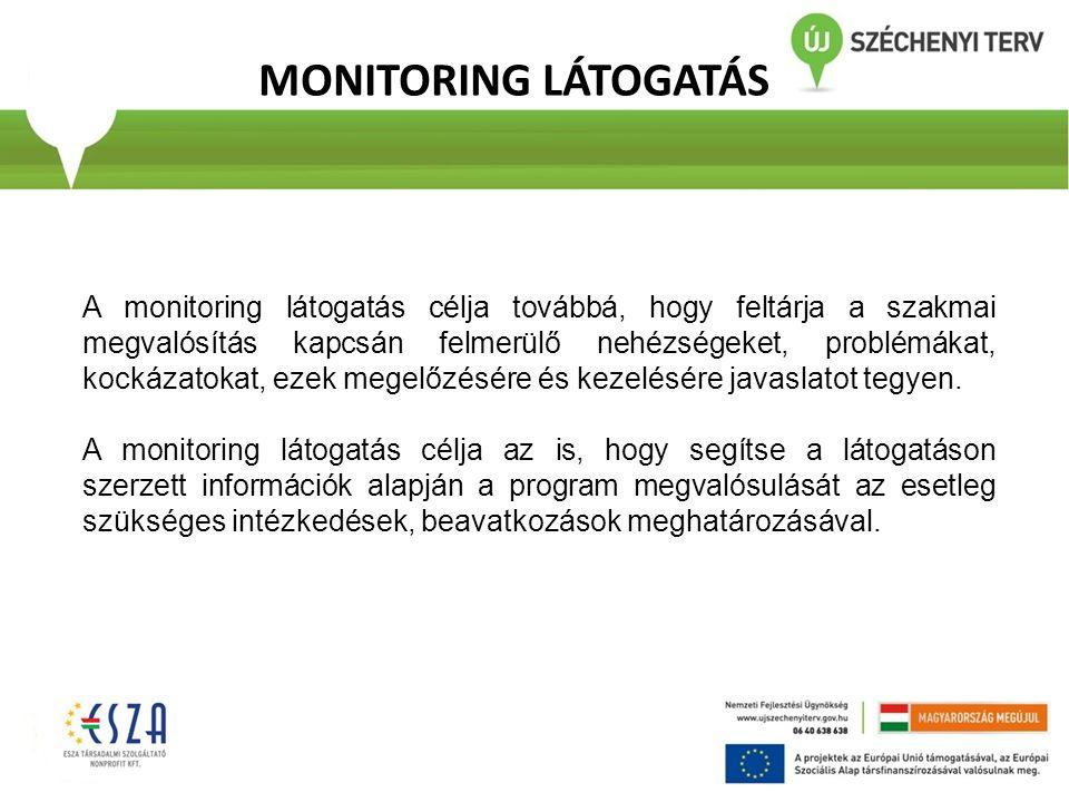 MONITORING LÁTOGATÁS A monitoring látogatás célja továbbá, hogy feltárja a szakmai megvalósítás kapcsán felmerülő nehézségeket, problémákat, kockázato