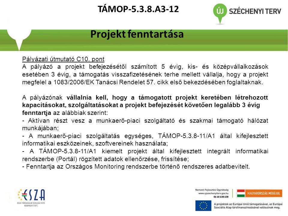 TÁMOP-5.3.8.A3-12 Projekt fenntartása Pályázati útmutató C10. pont A pályázó a projekt befejezésétől számított 5 évig, kis- és középvállalkozások eset