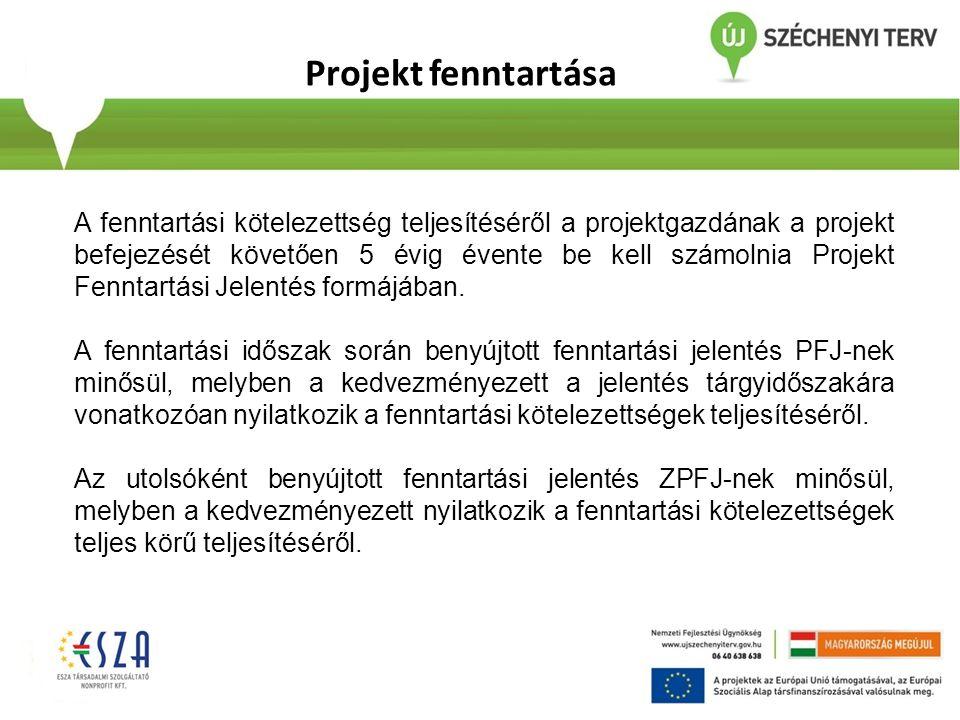 Projekt fenntartása A fenntartási kötelezettség teljesítéséről a projektgazdának a projekt befejezését követően 5 évig évente be kell számolnia Projek