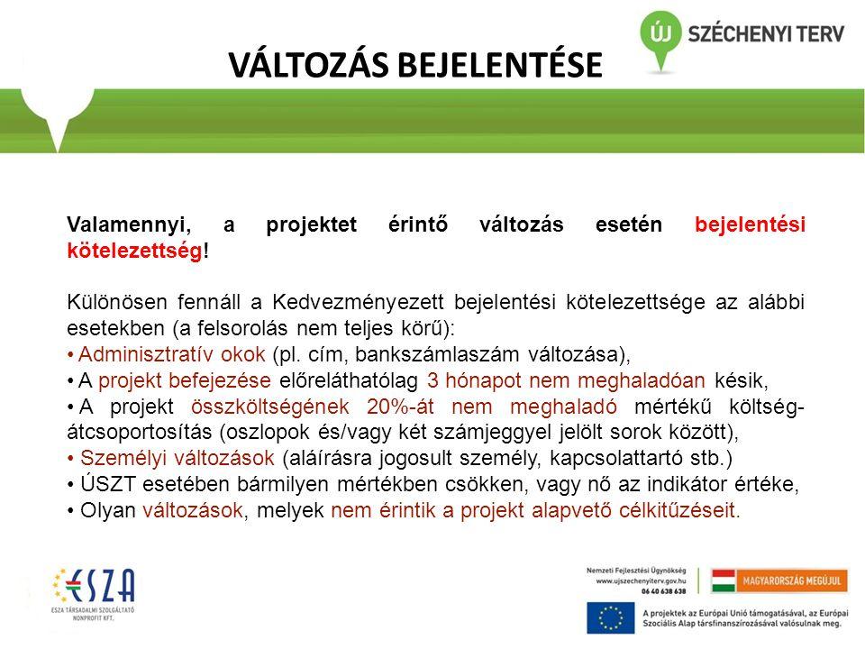 VÁLTOZÁS BEJELENTÉSE Valamennyi, a projektet érintő változás esetén bejelentési kötelezettség! Különösen fennáll a Kedvezményezett bejelentési kötelez