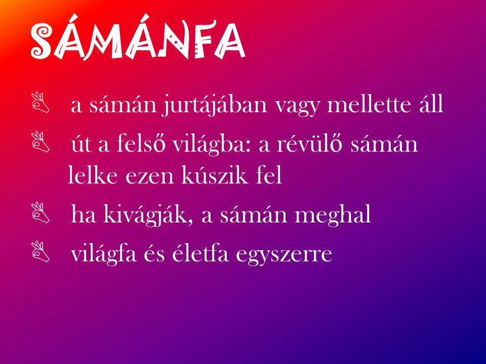 SÁMÁNFA B a sámán jurtájában vagy mellette áll B út a fels ő világba: a révül ő sámán lelke ezen kúszik fel B ha kivágják, a sámán meghal B világfa és életfa egyszerre