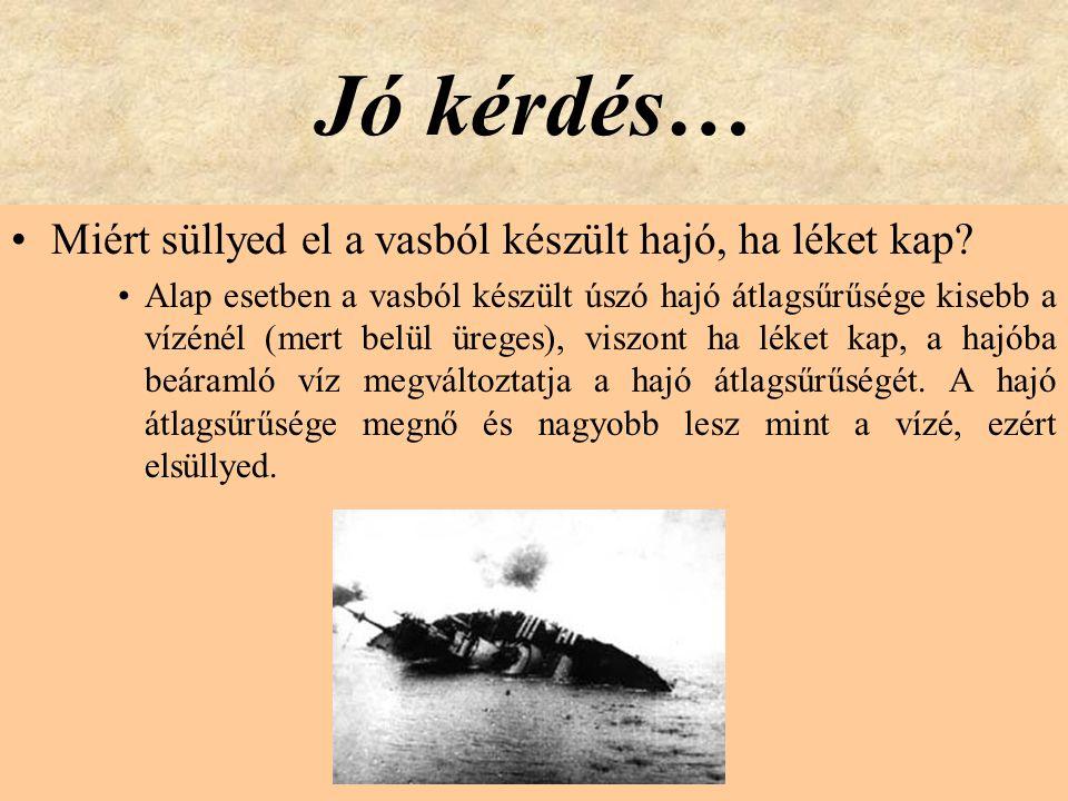 Jó kérdés… •Miért süllyed el a vasból készült hajó, ha léket kap? •Alap esetben a vasból készült úszó hajó átlagsűrűsége kisebb a vízénél (mert belül