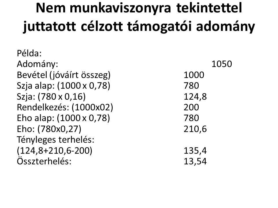 Nem munkaviszonyra tekintettel juttatott célzott támogatói adomány Példa: Adomány:1050 Bevétel (jóváírt összeg)1000 Szja alap: (1000 x 0,78)780 Szja: