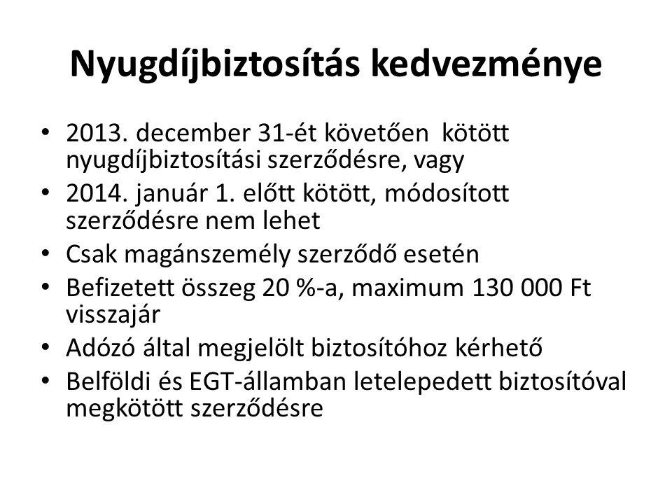 Nyugdíjbiztosítás kedvezménye • 2013. december 31-ét követően kötött nyugdíjbiztosítási szerződésre, vagy • 2014. január 1. előtt kötött, módosított s
