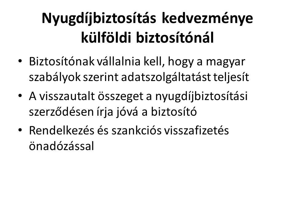 Nyugdíjbiztosítás kedvezménye külföldi biztosítónál • Biztosítónak vállalnia kell, hogy a magyar szabályok szerint adatszolgáltatást teljesít • A viss