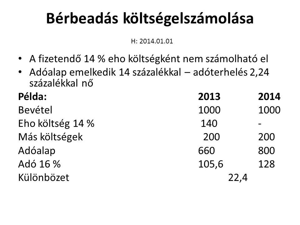 Bérbeadás költségelszámolása H: 2014.01.01 • A fizetendő 14 % eho költségként nem számolható el • Adóalap emelkedik 14 százalékkal – adóterhelés 2,24