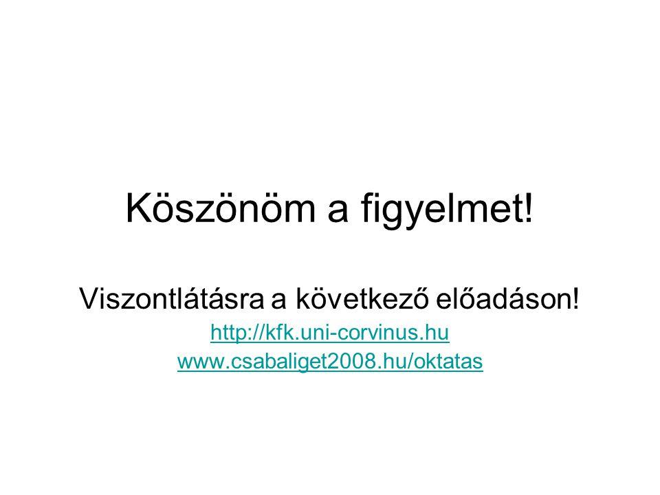 Köszönöm a figyelmet! Viszontlátásra a következő előadáson! http://kfk.uni-corvinus.hu www.csabaliget2008.hu/oktatas