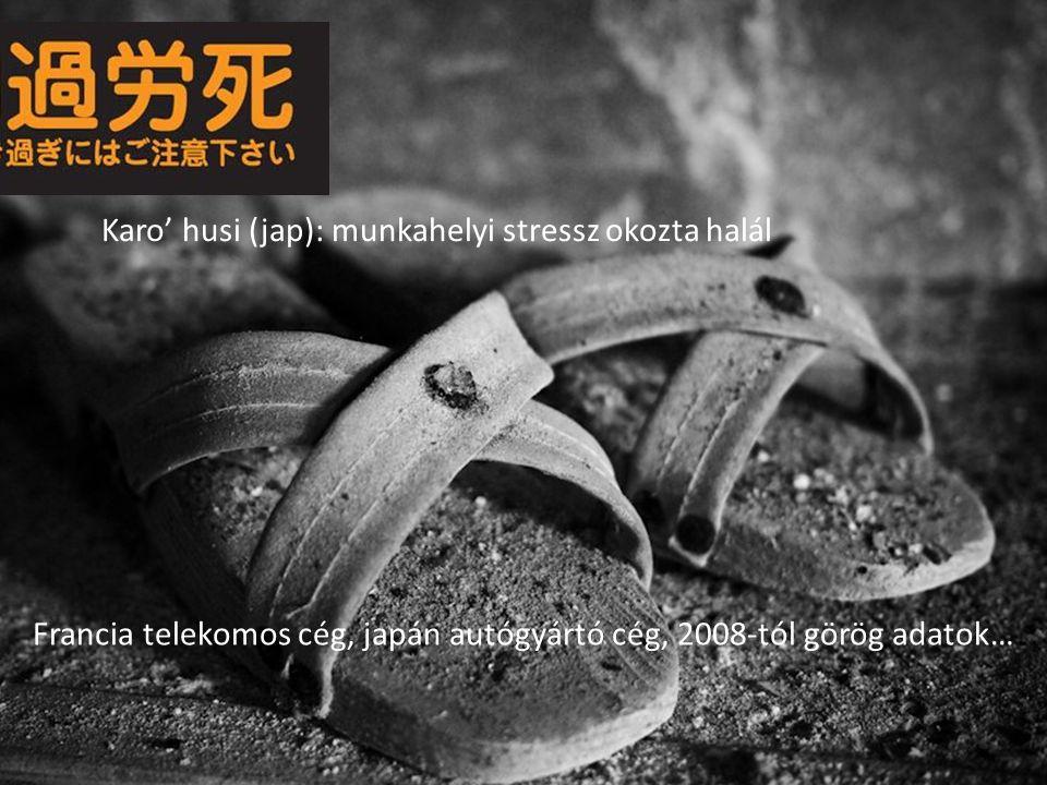 Karo' husi (jap): munkahelyi stressz okozta halál Francia telekomos cég, japán autógyártó cég, 2008-tól görög adatok…
