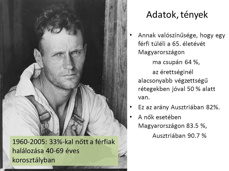 Adatok, tények • Annak valószínűsége, hogy egy férfi túléli a 65. életévét Magyarországon ma csupán 64 %, az érettséginél alacsonyabb végzettségű réte