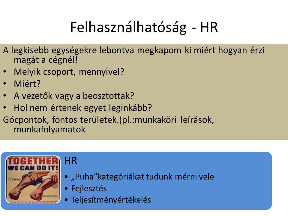 Felhasználhatóság - HR A legkisebb egységekre lebontva megkapom ki miért hogyan érzi magát a cégnél! • Melyik csoport, mennyivel? • Miért? • A vezetők
