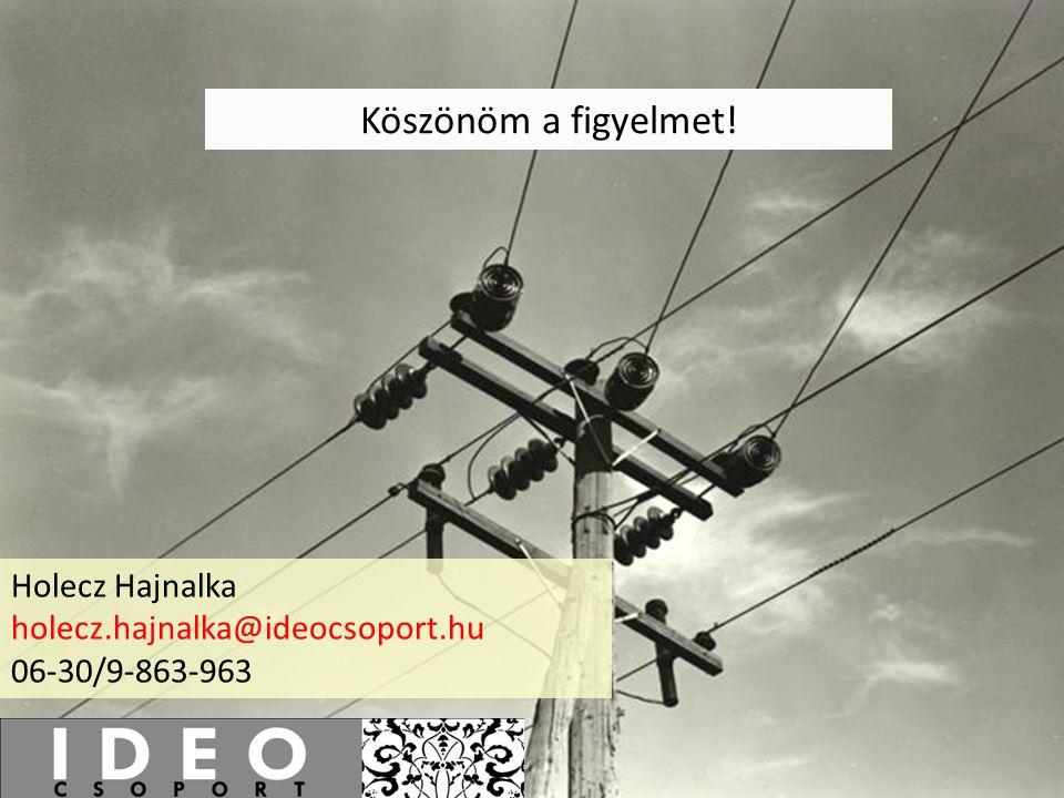 Köszönöm a figyelmet! Holecz Hajnalka holecz.hajnalka@ideocsoport.hu 06-30/9-863-963