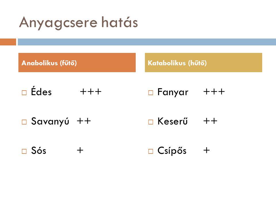 Anyagcsere hatás  Édes +++  Savanyú++  Sós+  Fanyar+++  Keserű++  Csípős+ Anabolikus (fűtő)Katabolikus (hűtő)