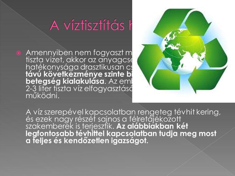  A szennyvizek tisztítása: A szennyvíztisztítás feladata, a szennyező anyagok olyan mértékű eltávolítása, hogy a vízben maradó szennyezéseket a befog